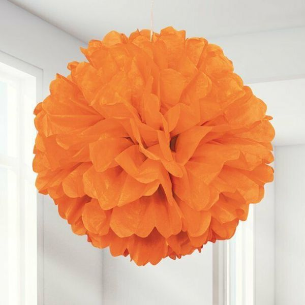 Halloween Orange Pom Pom Decoration x 3 - 41cm